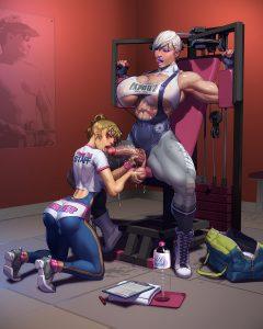 Futanari workout at gym porn